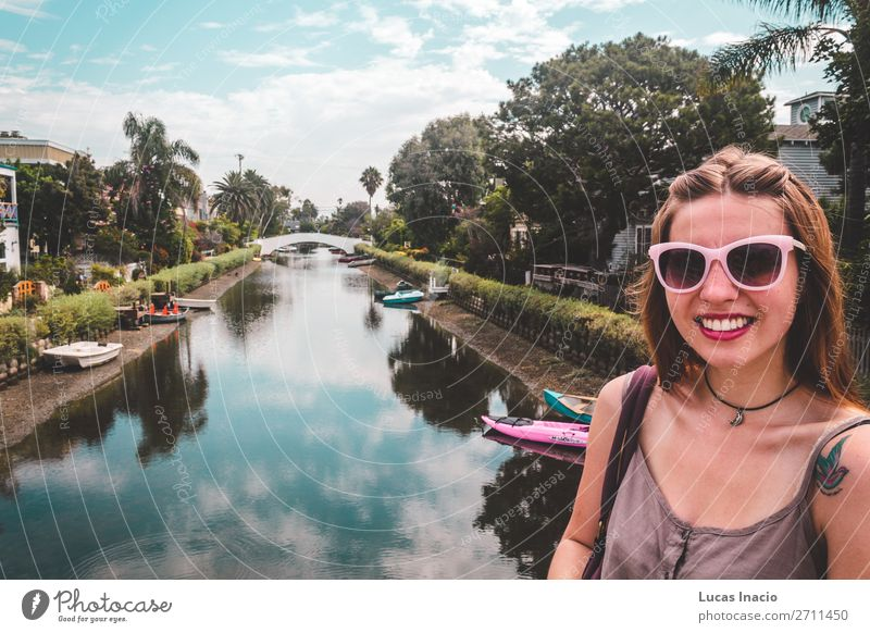 Girl at Venice Canals in Venice Beach, Los Angeles Vacation & Travel Tourism Summer House (Residential Structure) Woman Adults Environment Nature Sky Tree Leaf