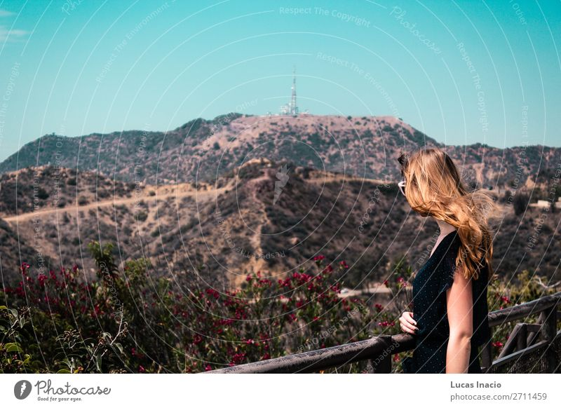 Girl near Hollywood Hills in Los Angeles, California Vacation & Travel Tourism Summer Mountain Garden Woman Adults Environment Nature Sky Tree Grass Leaf Park