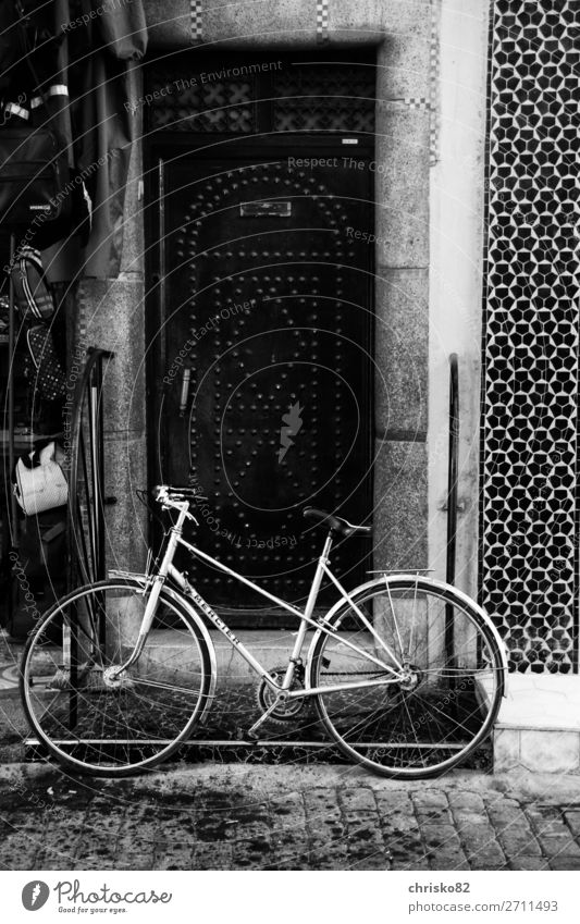 bikes Elegant Style Bicycle Town Old town Pedestrian precinct Door Means of transport Cycling Movement Driving Fitness Stand Esthetic Authentic Simple