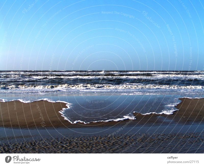 Water Ocean Beach Sand Waves Horizon Surf