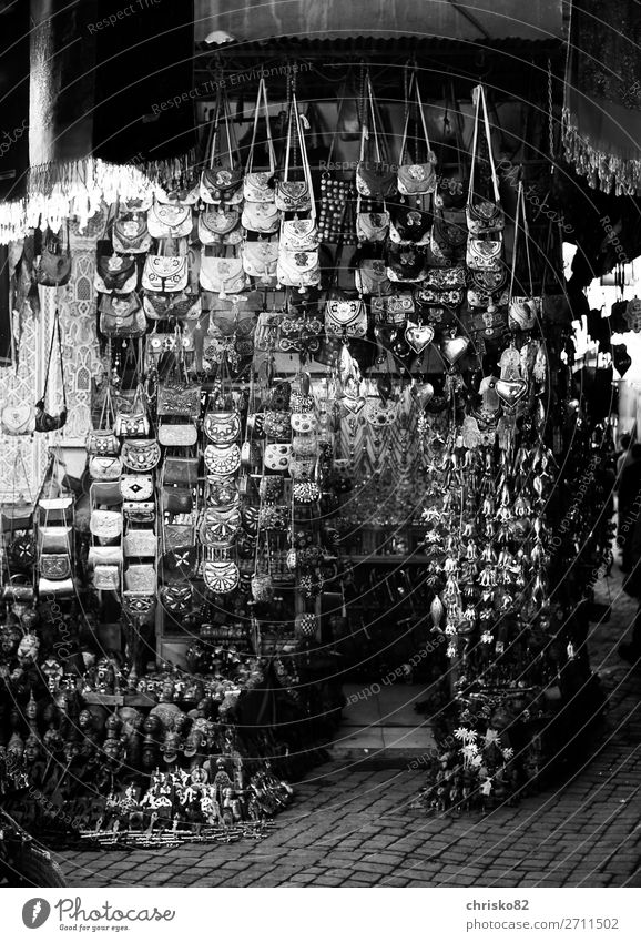 Souvenir shop in the souks of Marrakech Handcrafts Tourism City trip Town Old town Pedestrian precinct Deserted Decoration Kitsch Odds and ends Wood Glass Metal