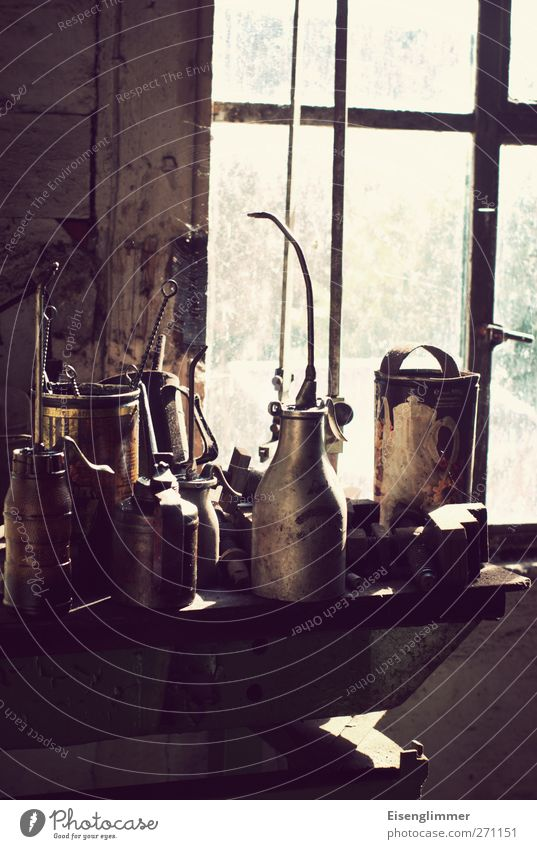 Workshop II Window Oil can Tool Chemicals Dye Services Workplace Craft (trade) Colour photo Interior shot Deserted Copy Space bottom Day Sunlight Back-light