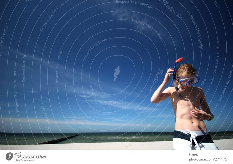 Hiddensee | Reception Human being Masculine Body Sky Clouds Beautiful weather Coast Beach Swimming trunks Blonde Diving equipment Diving goggles Relaxation