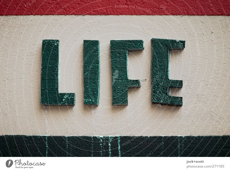 Life is full of color Lifestyle Style Wall (barrier) Wall (building) Stone Characters Stripe Dirty Simple Beautiful Green Red Joie de vivre (Vitality) Design