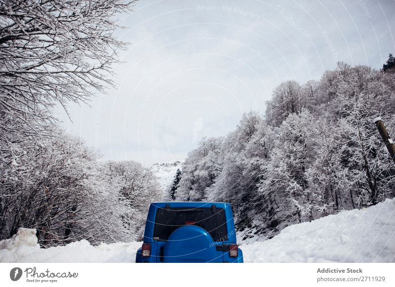 car parked on snowy road in winter. Street Snow Winter Asphalt Nature Car Parked Roadside Cold Landscape White Seasons Forest Frost Day Frozen Trip Transport