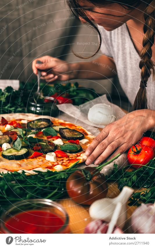 Crop woman preparing pizza Woman Pizza Cooking Arrange Vegetable Italian Kitchen Meal Sauce Home-made Preparation Food Tomato Make Bakery Ingredients Fresh