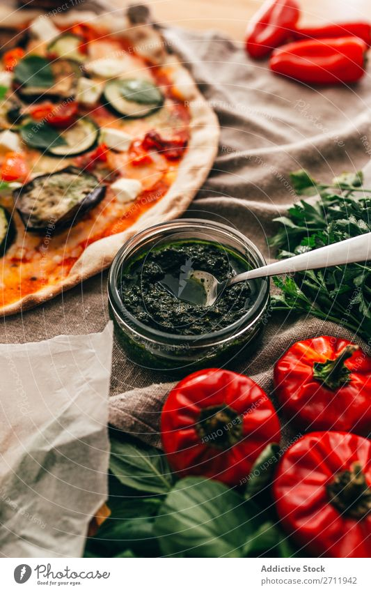 Delicious sauce served for pizza Sauce Pizza Italian Meal Tasty Dinner Home-made Crust Gourmet Food Fresh Restaurant Baking Basil Portion Oil Green Lunch Rustic