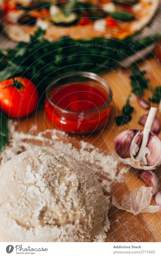 Dough for delicious pizza Cooking Ingredients Preparation Bakery rolling Raw Home-made Food Flour Rustic Pizza Tradition Healthy Baked goods Meal Fresh Bread