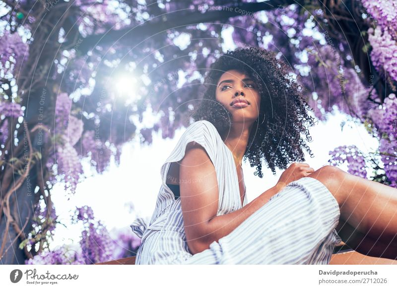 Young black woman sitting surrounded by flowers Woman Blossom Spring Lilac Portrait photograph Black African Mixed race ethnicity