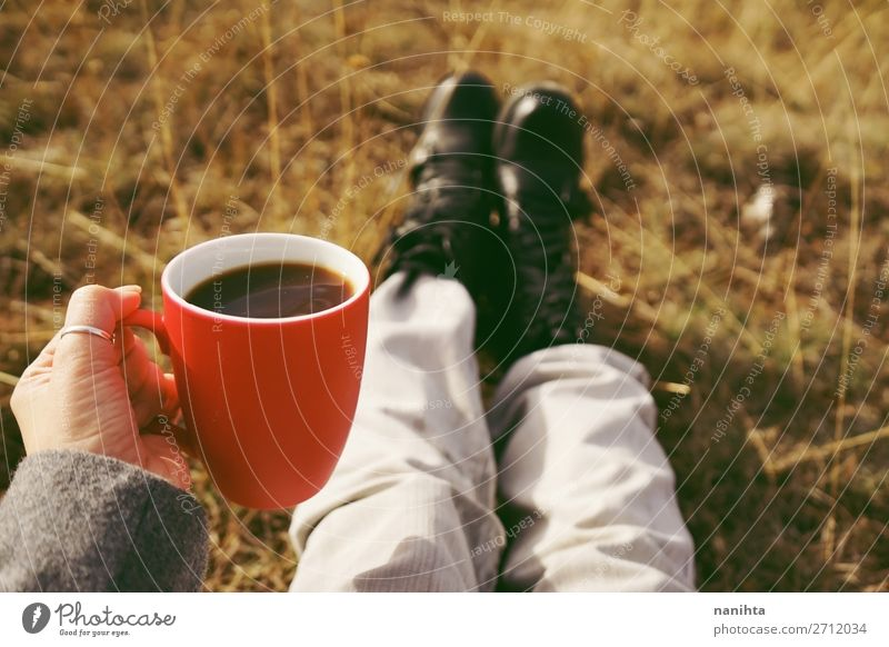 One people holding a cup of coffee or soluble cereals Nature Red Hand Relaxation Calm Winter Black Healthy Lifestyle Autumn Warmth Natural Health care Nutrition