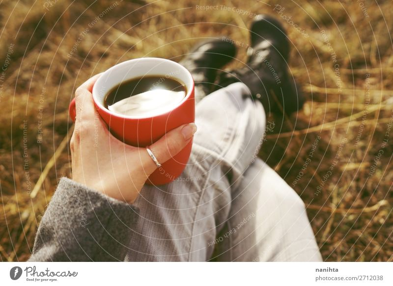 One people holding a cup of coffee or soluble cereals Nature Summer Red Hand Relaxation Calm Black Lifestyle Autumn Natural Health care Nutrition