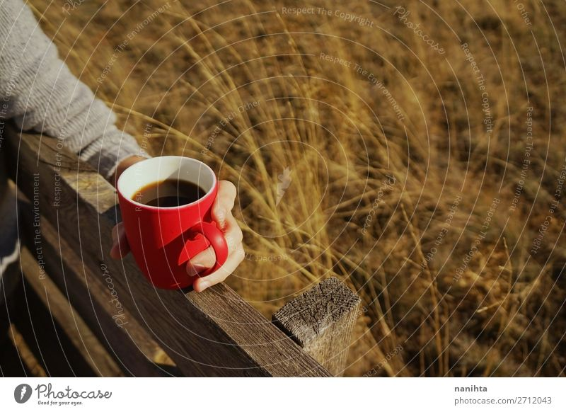 One people holding a cup of coffee or soluble cereals Nature Red Hand Relaxation Calm Black Lifestyle Natural Health care Nutrition Coffee Beverage Breakfast