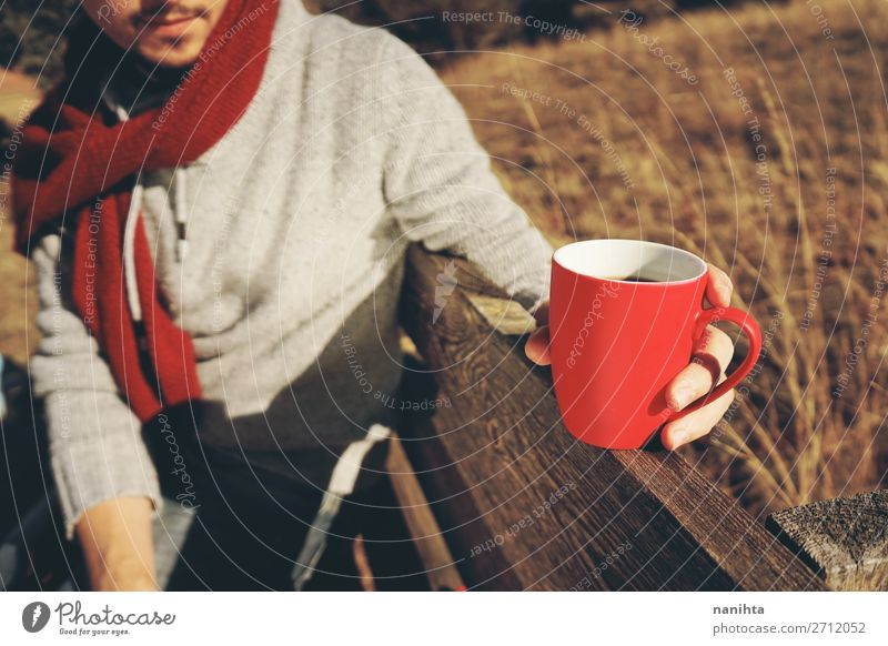 One people holding a cup of coffee or soluble cereals Nutrition Breakfast Organic produce Beverage Hot drink Hot Chocolate Coffee Tea Cup Lifestyle Health care