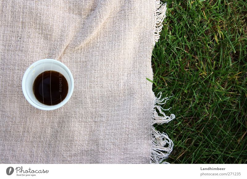 Cola picnic. Beverage Mug Grass Drinking Delicious Sweet Green Pink Black White Colour photo Exterior shot Deserted Day