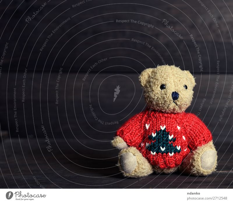 old brown teddy bear in a red sweater Joy Children's game Sweater Toys Doll Teddy bear Wood Love Sit Small Cute Retro Soft Brown Red Loneliness Idea Sadness