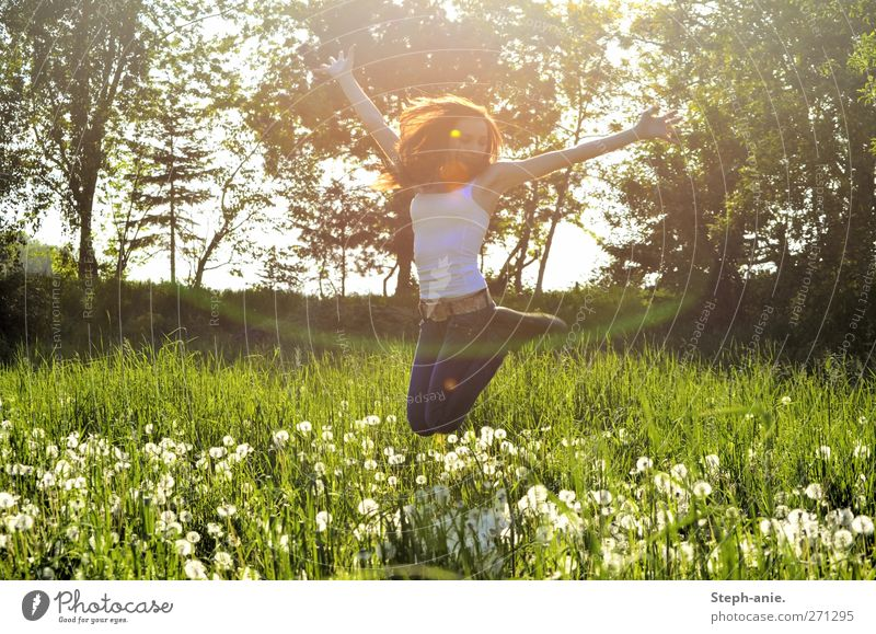 meadow pleasures Feminine Young woman Youth (Young adults) Woman Adults Body 1 Human being Nature Plant Spring Tree Grass Meadow To enjoy Jump Happiness Happy