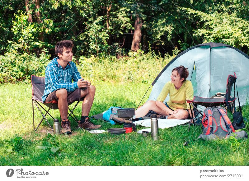 Spending a vacation on camping Woman Human being Vacation & Travel Nature Man Relaxation Lifestyle Adults Tourism Sit Adventure Summer vacation Map Camping Tent