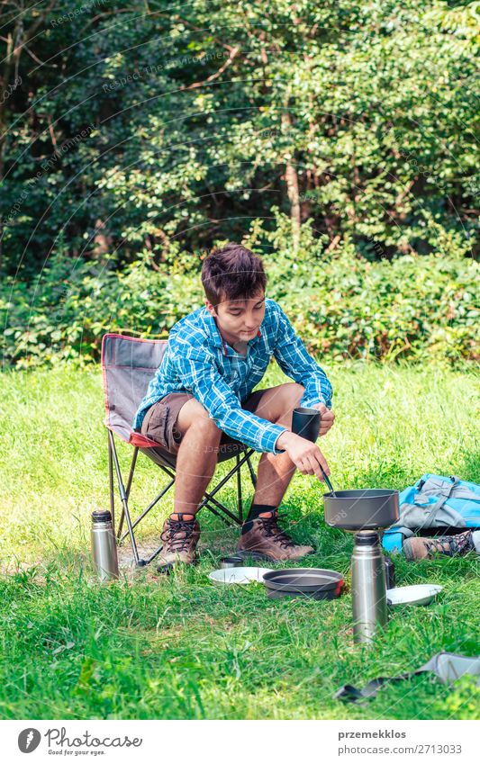 Spending a vacation on camping Lifestyle Relaxation Vacation & Travel Tourism Adventure Camping Summer Summer vacation Man Adults Youth (Young adults) 1
