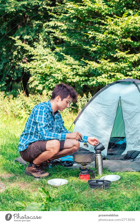 Spending a vacation on camping Human being Vacation & Travel Nature Youth (Young adults) Man Summer Relaxation Lifestyle Adults Tourism 13 - 18 years Sit