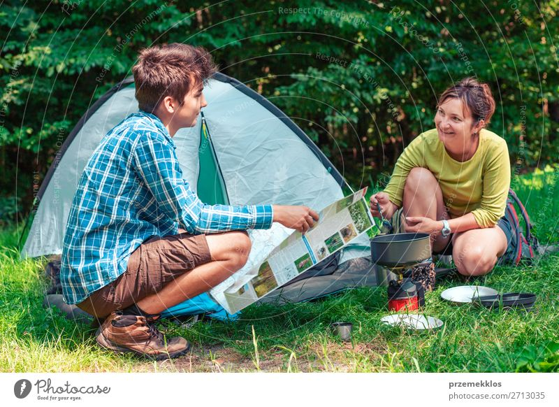 Spending a vacation on camping Lifestyle Relaxation Vacation & Travel Tourism Adventure Camping Summer Summer vacation Woman Adults Man 2 Human being