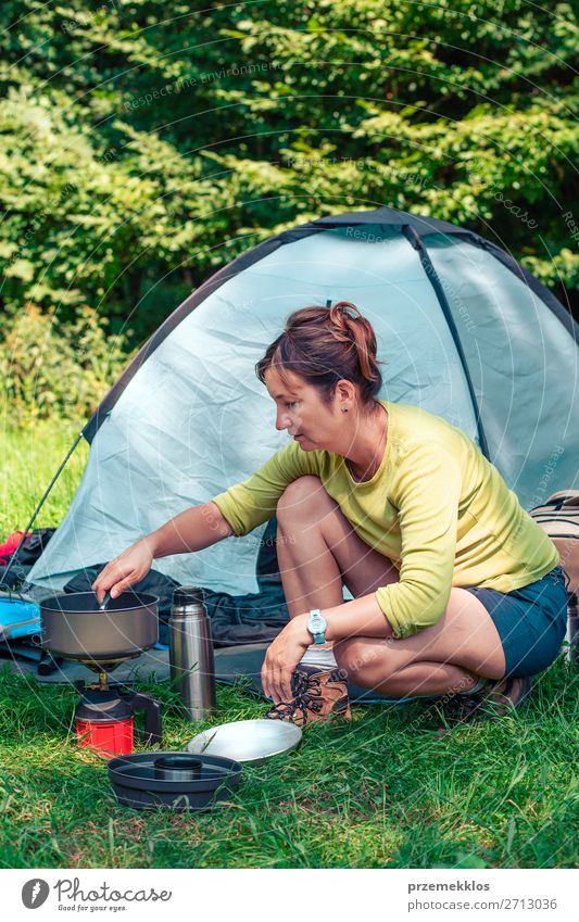 Spending a vacation on camping Woman Human being Vacation & Travel Nature Relaxation Lifestyle Adults Tourism Trip Sit Adventure Summer vacation Map Camping