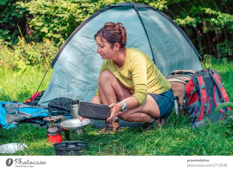 Spending a vacation on camping Lifestyle Relaxation Vacation & Travel Tourism Trip Adventure Camping Summer vacation Woman Adults 1 Human being 30 - 45 years