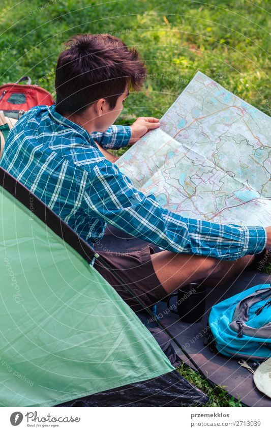 Spending a vacation on camping Lifestyle Relaxation Vacation & Travel Tourism Adventure Camping Young man Youth (Young adults) Man Adults 1 Human being