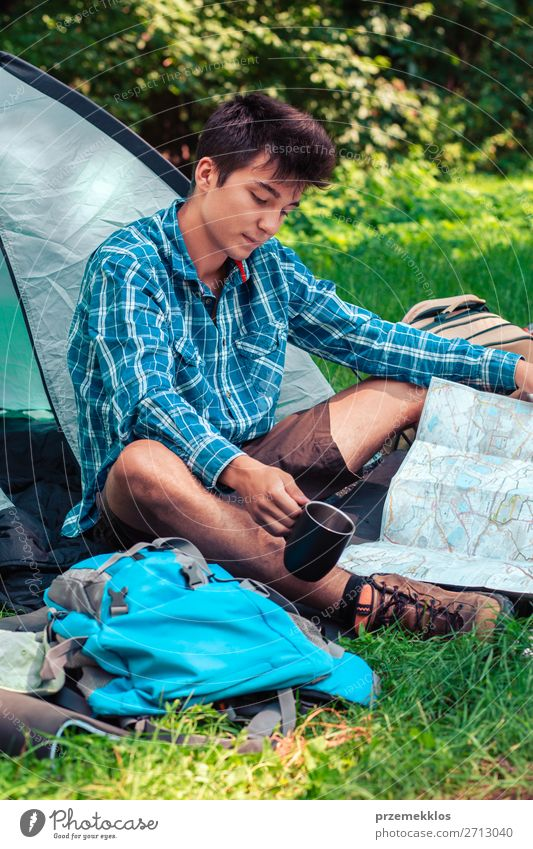 Spending a vacation on camping Lifestyle Relaxation Vacation & Travel Tourism Trip Adventure Camping Young man Youth (Young adults) Man Adults 1 Human being