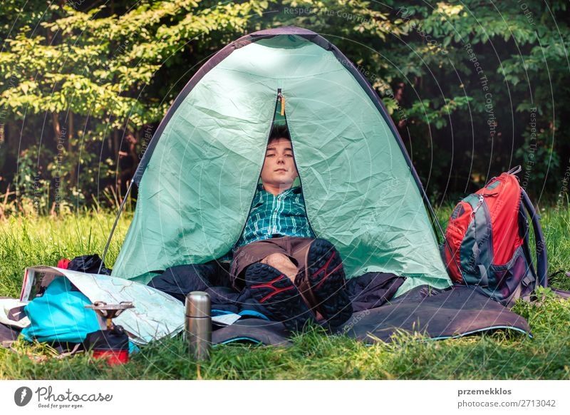 Spending a vacation on camping Lifestyle Relaxation Vacation & Travel Tourism Trip Camping Summer vacation Young man Youth (Young adults) Man Adults 1
