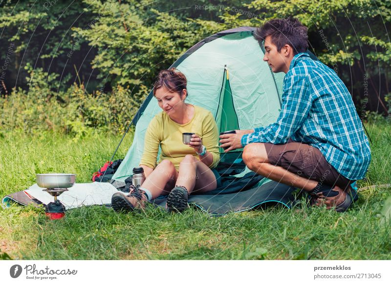 Spending a vacation on camping Lifestyle Relaxation Vacation & Travel Tourism Adventure Camping Woman Adults Man 2 Human being 13 - 18 years