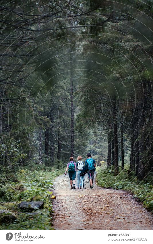 Family spending vacation on wandering with backpacks Woman Child Human being Vacation & Travel Nature Man Summer Plant Landscape Tree Relaxation Joy Forest Girl