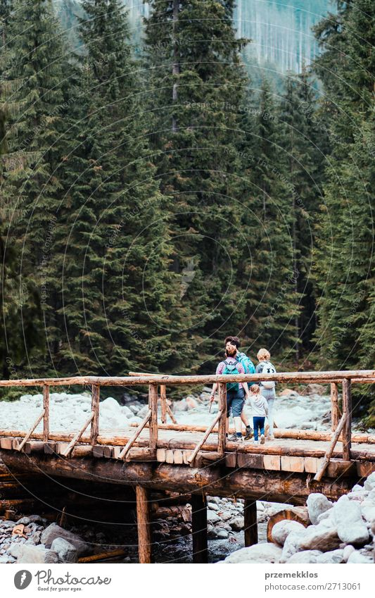 Family walking across the wooden bridge in mountains Woman Child Human being Vacation & Travel Nature Youth (Young adults) Man Young woman Summer Plant