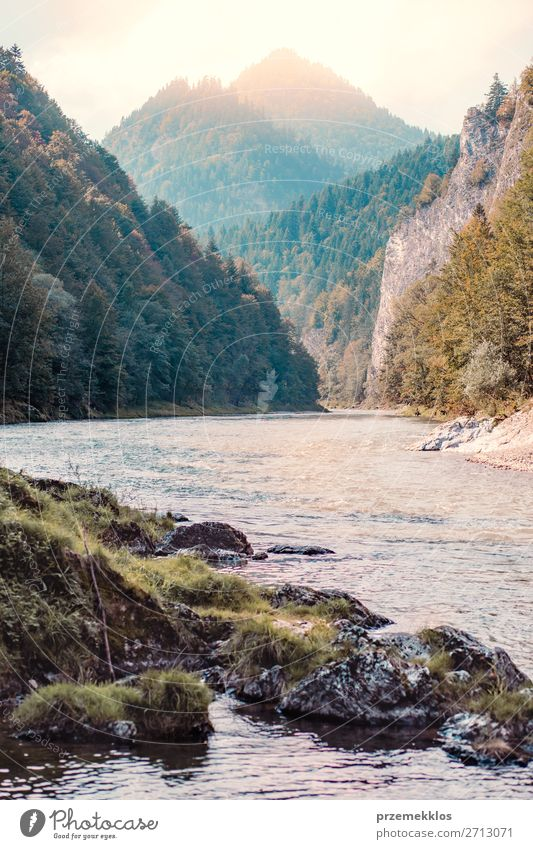 Mountain river valley landscape Beautiful Vacation & Travel Tourism Summer Nature Landscape Sky Tree Park Forest Hill Rock River Natural Green Dunajec Pieniny