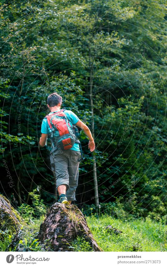 Young wanderer with backpack walking over a rock towards forest Lifestyle Leisure and hobbies Tourism Adventure Summer Hiking Human being Boy (child) Man Adults