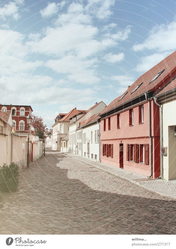 Sunny small town in Brandenburg, house escape attempt House (Residential Structure) Sky Clouds Beautiful weather Village Small Town Manmade structures Building