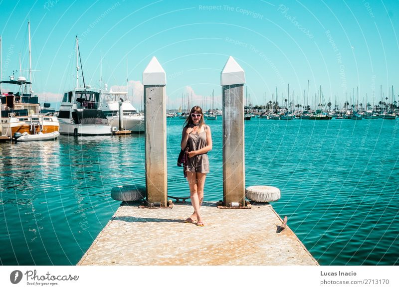 Stylish Girl at Marina in Harbour Island, San Diego Vacation & Travel Tourism Summer Garden Human being Feminine Young woman Youth (Young adults) Woman Adults
