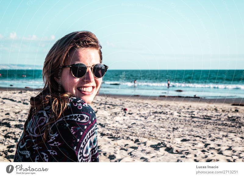 Girl at Coronado Beach, San Diego Woman Human being Sky Vacation & Travel Nature Youth (Young adults) Young woman Summer Ocean Relaxation Joy Adults Environment