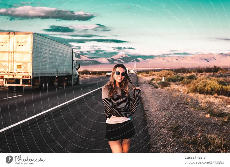 Girl at Mojave Desert near Route 66 in California Vacation & Travel Tourism Trip Adventure Far-off places Freedom Expedition Summer Mountain Human being