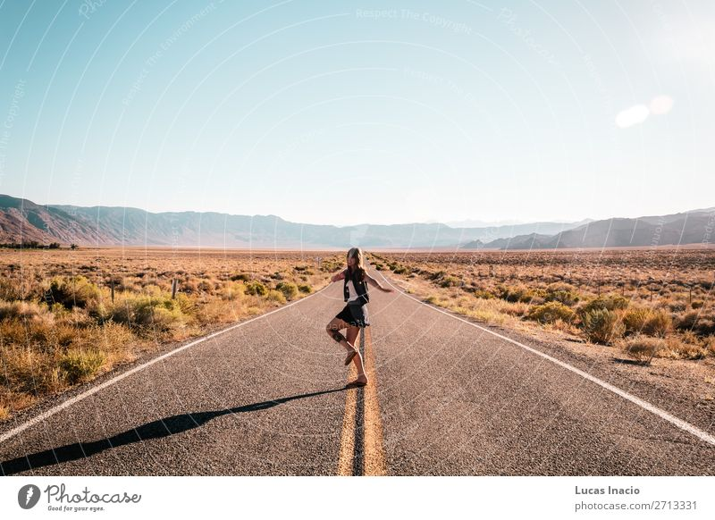 Girl in the middle of Route 66 Vacation & Travel Tourism Summer Human being Feminine Young woman Youth (Young adults) Woman Adults 1 Landscape Street Highway