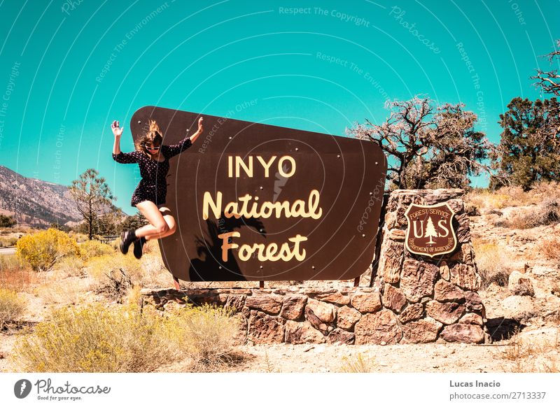 Girl at INYO National Forest sign, near California and Nevada Vacation & Travel Tourism Human being Feminine Young woman Youth (Young adults) Woman Adults 1