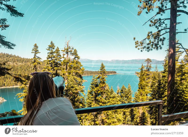 Girl at Emerald Bay Vista Point, Lake Tahoe Vacation & Travel Tourism Summer Mountain Garden Human being Feminine Young woman Youth (Young adults) Woman Adults