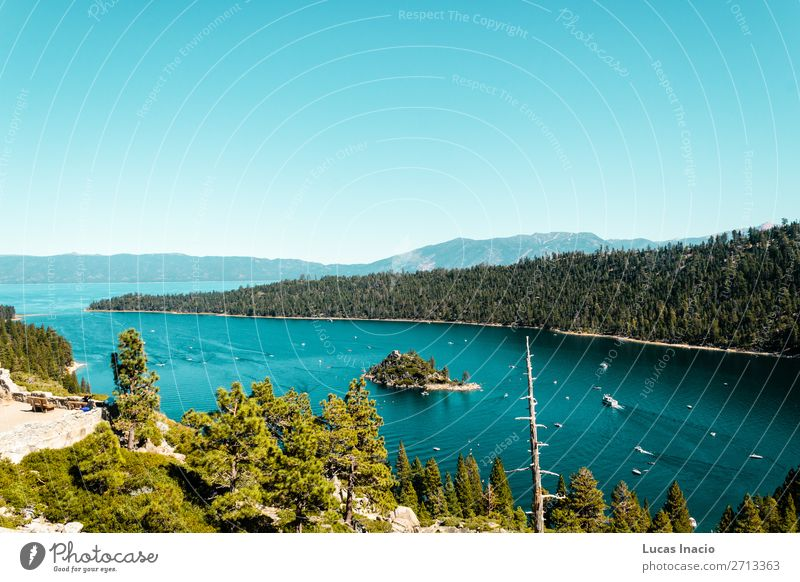 Emerald Bay and Lake Tahoe Vacation & Travel Tourism Summer Island Mountain Garden Environment Nature Sky Tree Grass Leaf Park Forest Hill Rock River Skyline