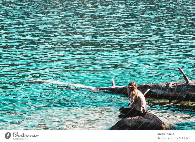Girl at Emerald Bay, Lake Tahoe Vacation & Travel Tourism Summer Beach Ocean Mountain Garden Human being Feminine Young woman Youth (Young adults) Woman Adults