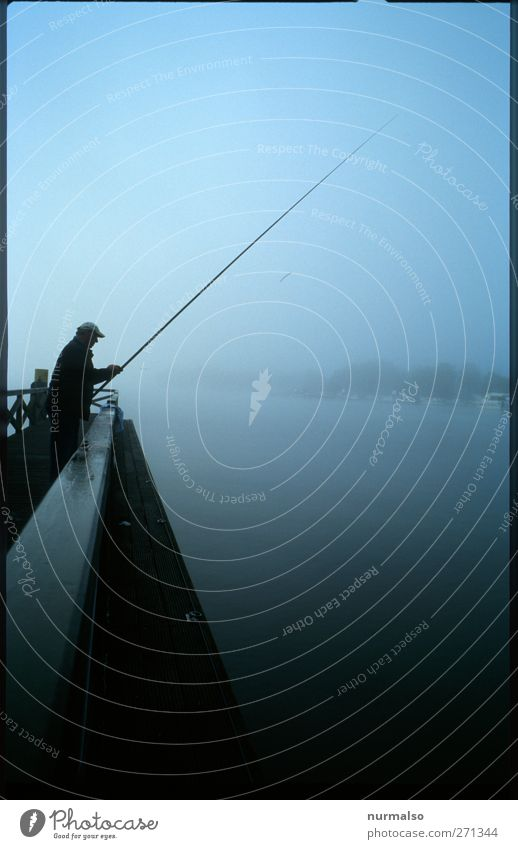 fishing in the morning Leisure and hobbies Fishing (Angle) Human being Masculine Body 1 45 - 60 years Adults Nature Water Climate Fog River Havel Bridge Breathe