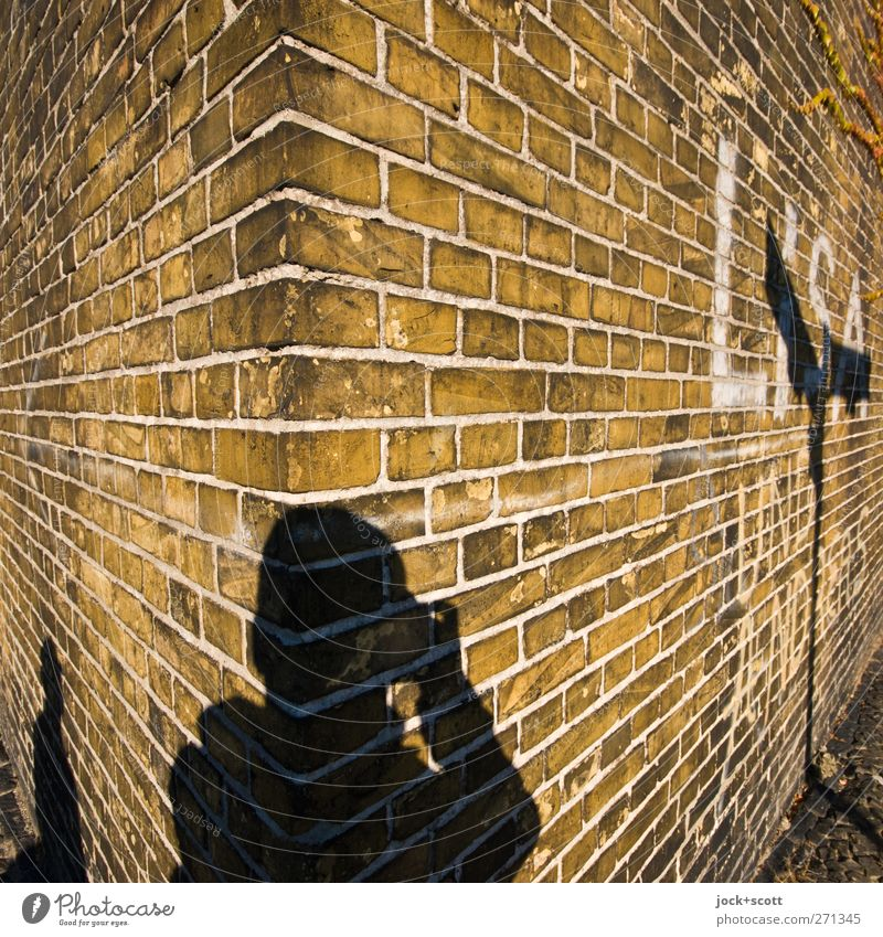 round the corner Joy Take a photo Human being 2 Kreuzberg Wall (barrier) Wall (building) Brick Line Stand Exceptional Sharp-edged Firm Historic Retro Trashy