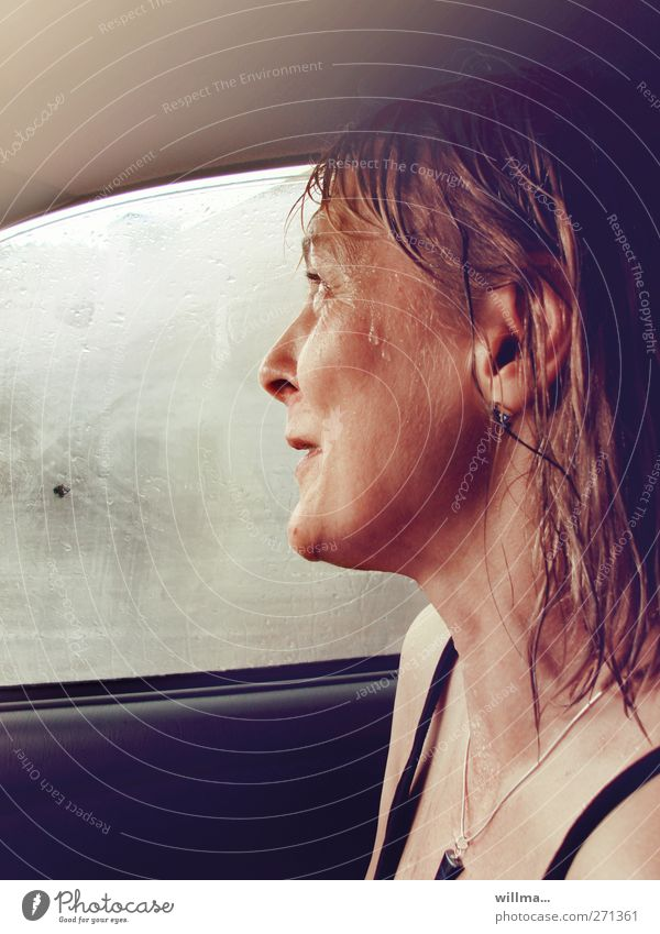 Woman Joy Adults Hair and hairstyles Head Laughter Car Car Window Rain Natural Wet Authentic Happiness Drops of water Safety Smiling
