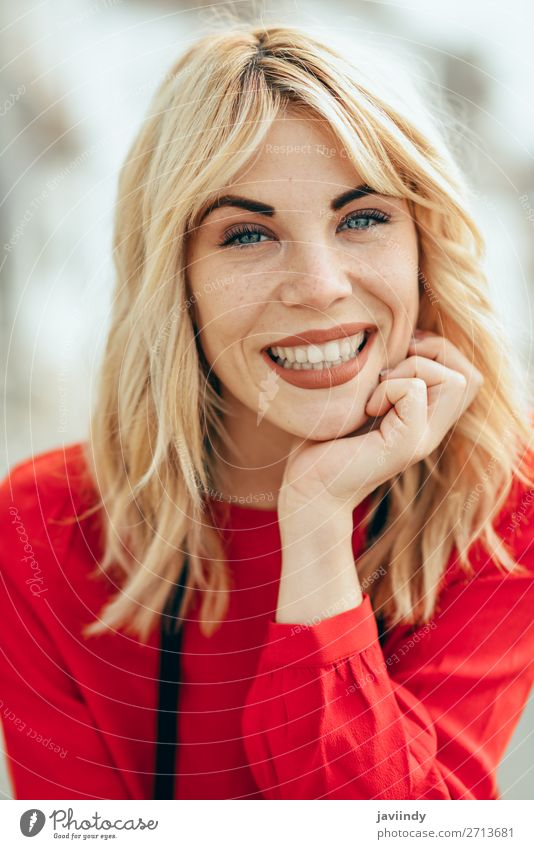Smiling blonde girl with red shirt enjoying life outdoors. Lifestyle Style Happy Beautiful Hair and hairstyles Human being Feminine Young woman