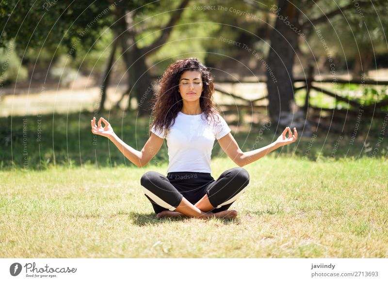 Young Arab woman doing yoga in nature Lifestyle Happy Hair and hairstyles Relaxation Calm Meditation Summer Sports Yoga Human being Feminine Young woman