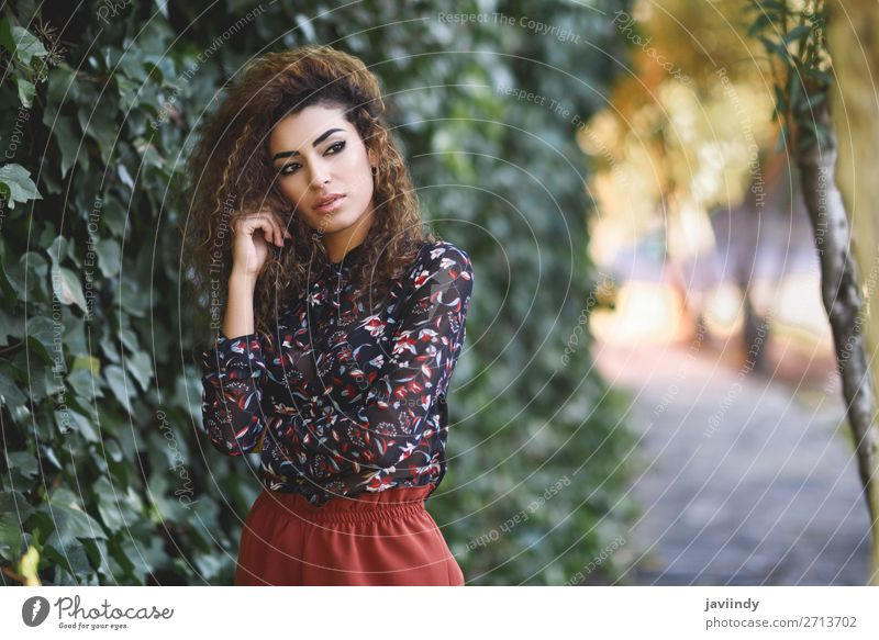 Beautiful young arabic woman with black curly hairstyle. Lifestyle Style Hair and hairstyles Human being Feminine Young woman Youth (Young adults) Woman Adults