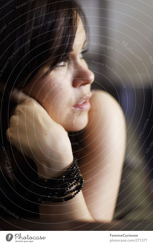 Human being Woman Youth (Young adults) Beautiful Loneliness Adults Relaxation Window Feminine Sadness Think Young woman Open Lie Arm Elegant